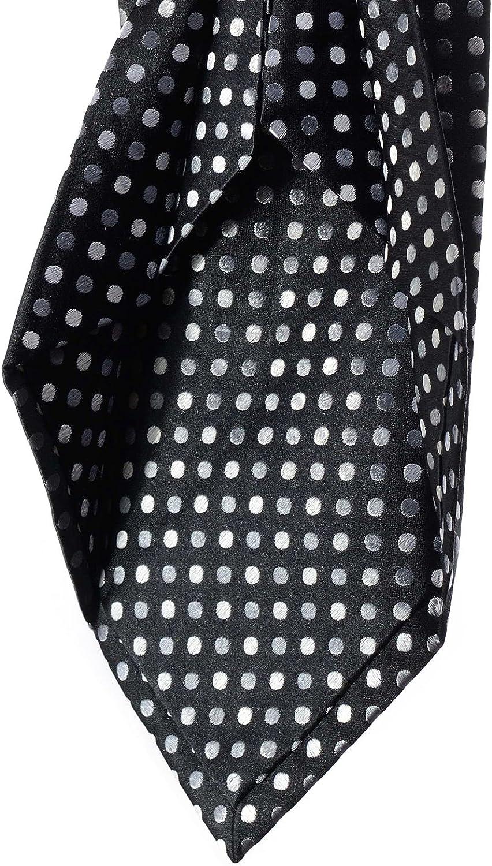 Corbata 7 pliegues seda 100% negro lunares blanco gris Dandy boda ...
