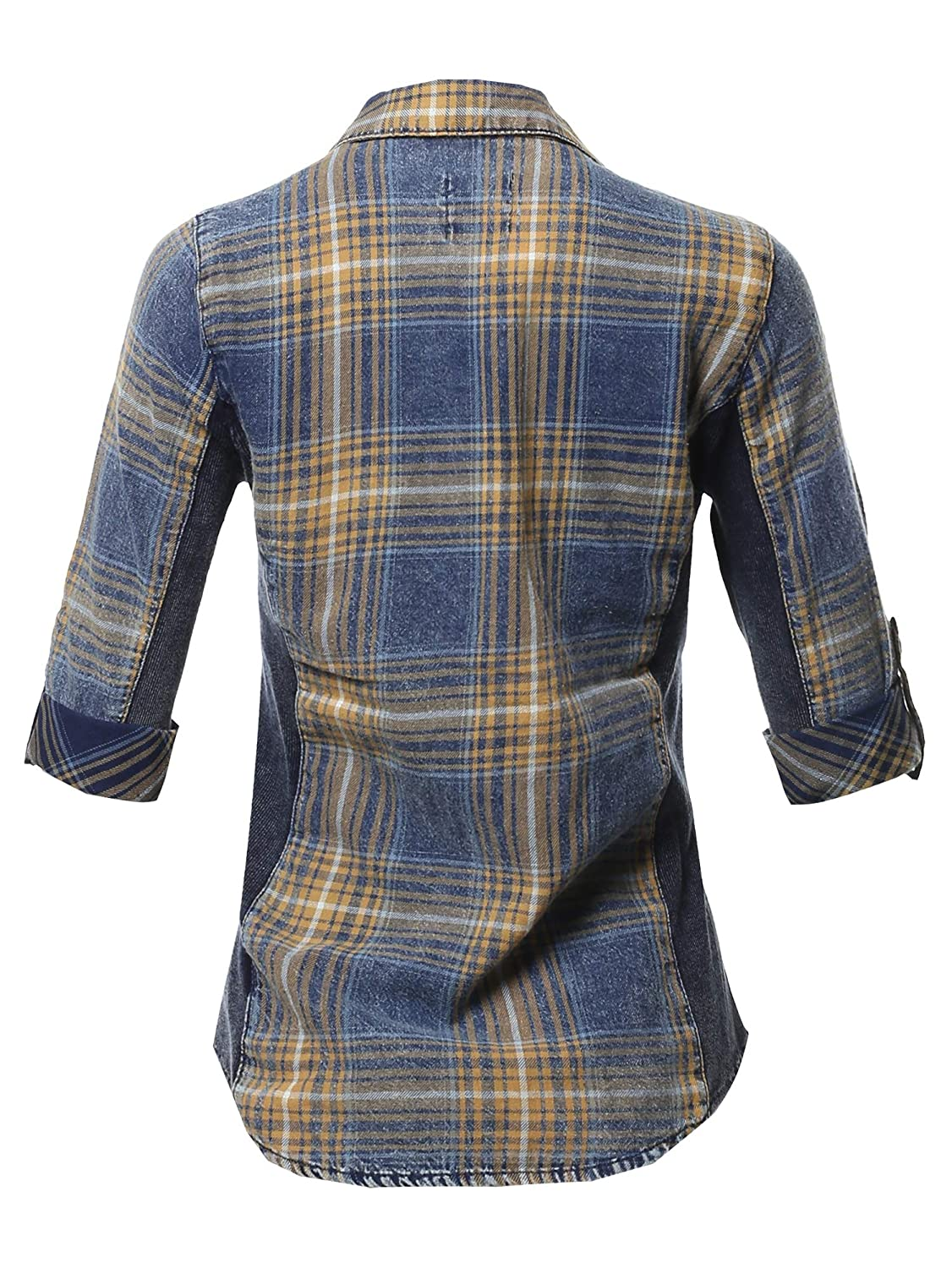 Made by Emma Womens Junior Fit Basic Button Closure Roll Up Sleeves Chest Pocket Denim Chambray