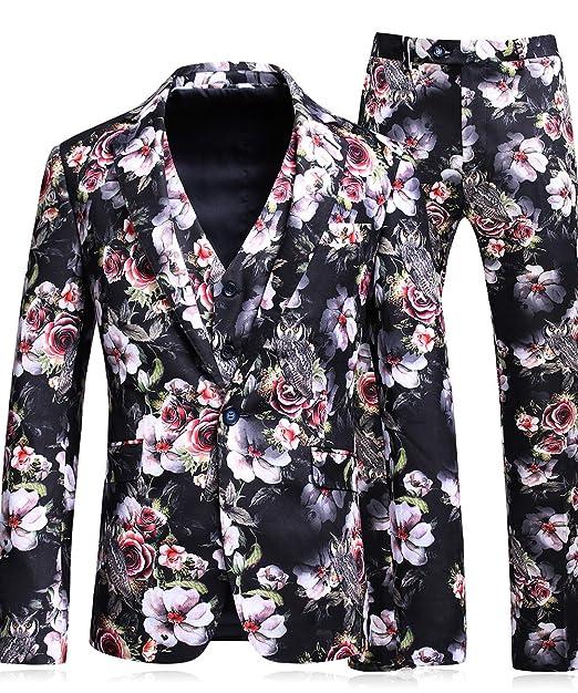 MOGU Hombres impresos Floral 1 Botón 3 piezas Traje de lujo chaqueta y  pantalones y chaleco  Amazon.es  Ropa y accesorios 01b49bd9745e