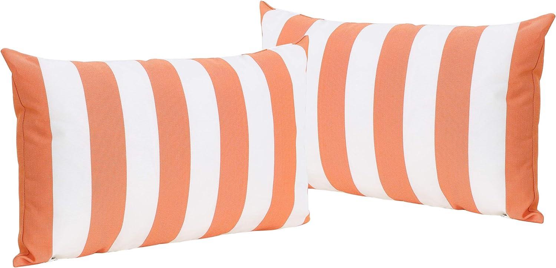 Christopher Knight Home Coronado Outdoor Water Resistant Rectangular Throw Pillows, 2-Pcs Set, Orange / White