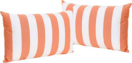 Christopher Knight Home Coronado Outdoor Water Resistant Rectangular Throw Pillows, 2-Pcs Set, Orange White