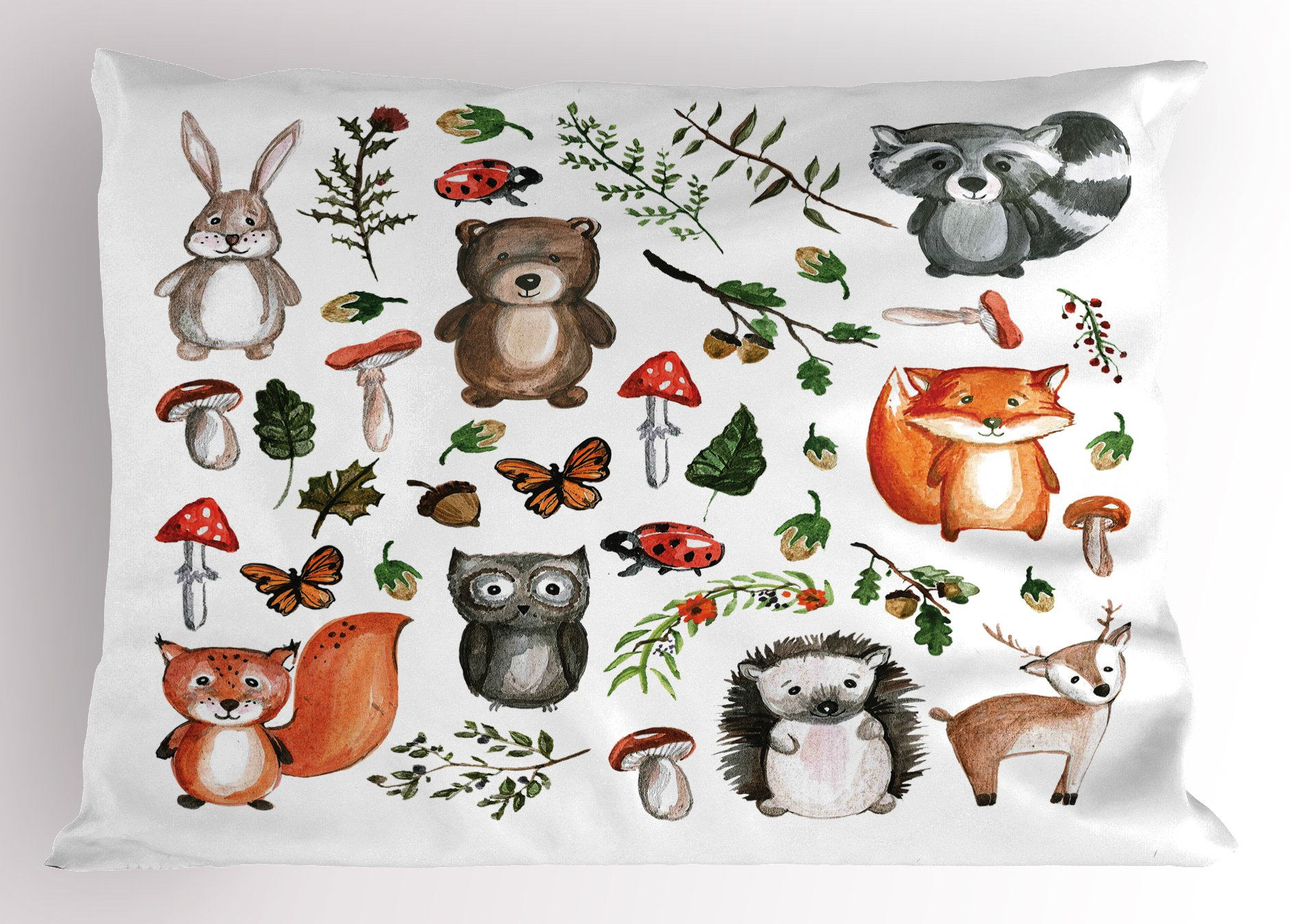 Lunarable Woodland Pillow Sham, Watercolor Hand Drawn Forest Animals Illustration Among Elements of The Woods, Decorative Standard Size Printed Pillowcase, 26 X 20 inches, Multicolor