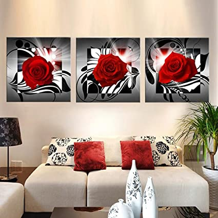 Raybre Art® 3pcs Impresión sobre Lienzo Cuadro Modernos Rosa Roja ...