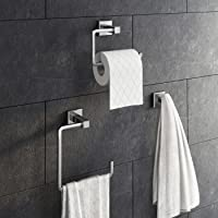 3 Piece Bathroom Accessory Set Towel Ring Toilet Roll Holder + Robe Hook Kit