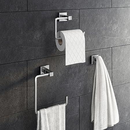 3 Piece Bathroom Accessory Set Towel Ring Toilet Roll Holder + Robe Hook Kit  ACC140