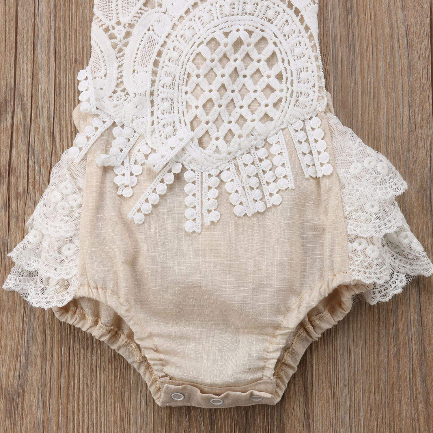 Toddler Baby Girl Clothing Lace Romper Backless Jumpsuit Outfits Clothes Set