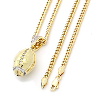 14k gold tone iced out football pendant w 3mm 30 cuban chain ax18 14k gold tone iced out football pendant w 3mm 30quot cuban chain ax18 aloadofball Image collections