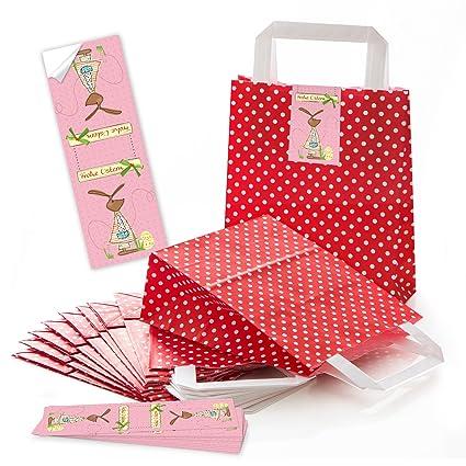 25 Bolsas de bolsas de bolsas de papel Bolsas Asa rojos con ...