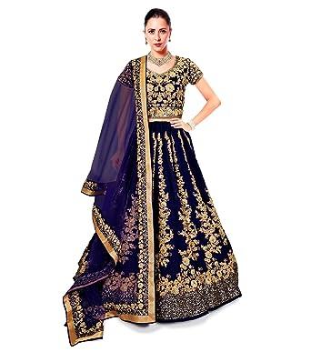 1c0a06a807 Zeel Clothing Women's Raw Silk Semi-Stitched Lehenga Choli Set (ZC7008,  Navy Blue