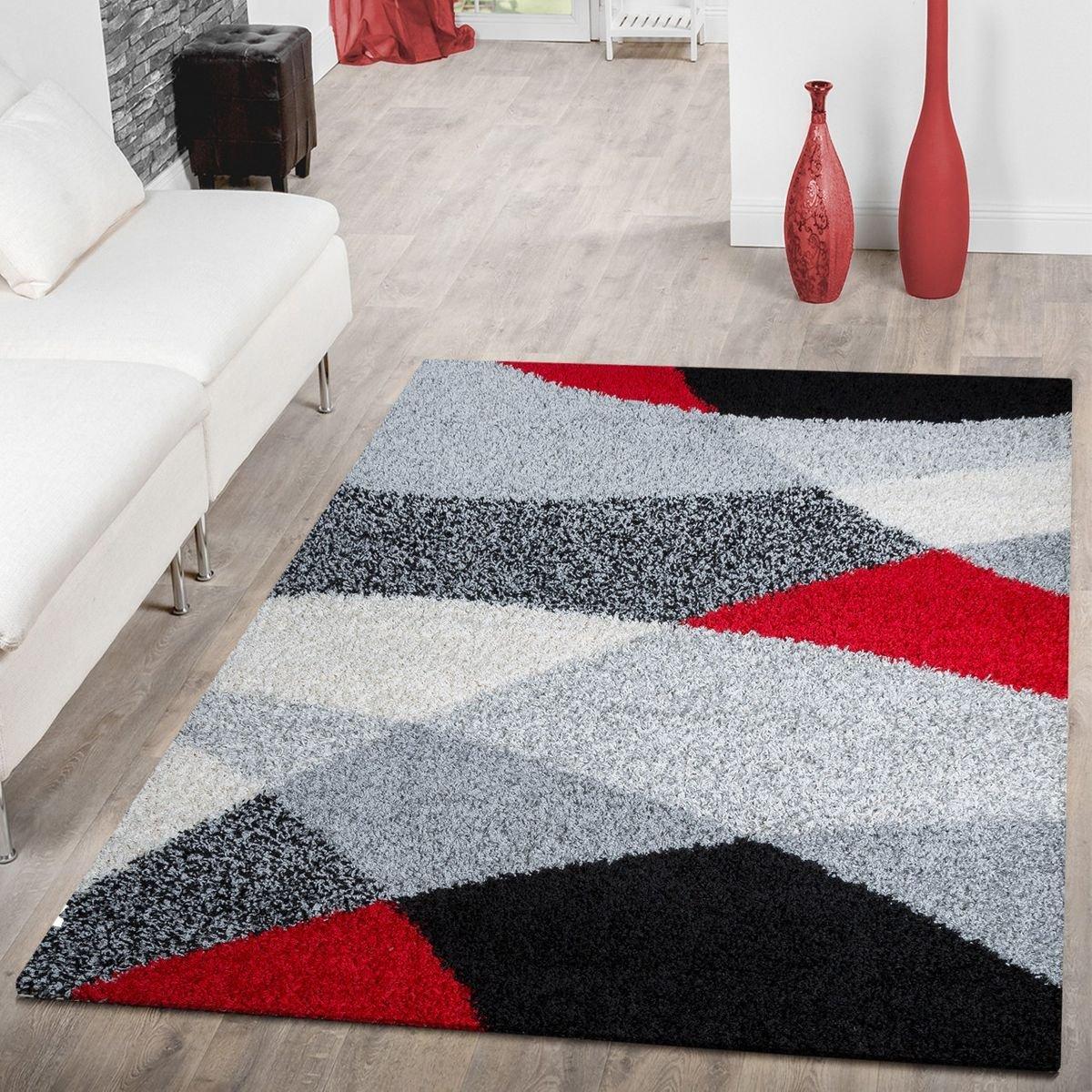 T&T Design Moderner Hochflor Teppich Shaggy Vigo Gemustert in Schwarz Grau Weiß Rot Top Preis  , Größe 160x220 cm