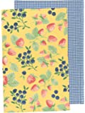 Now Designs Kitchen Dishtowels, Set of Two, Berry Patch and Blue Gingham