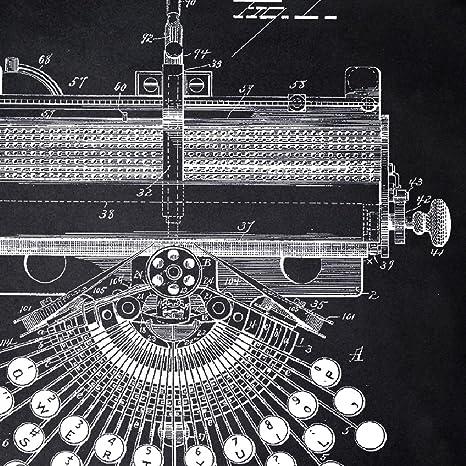 Nacnic Negro - Pack de 4 Láminas con Patentes de MAQUINAS DE Escribir. Set de Posters con inventos y Patentes Antiguas. Elije el Color Que Más te guste.