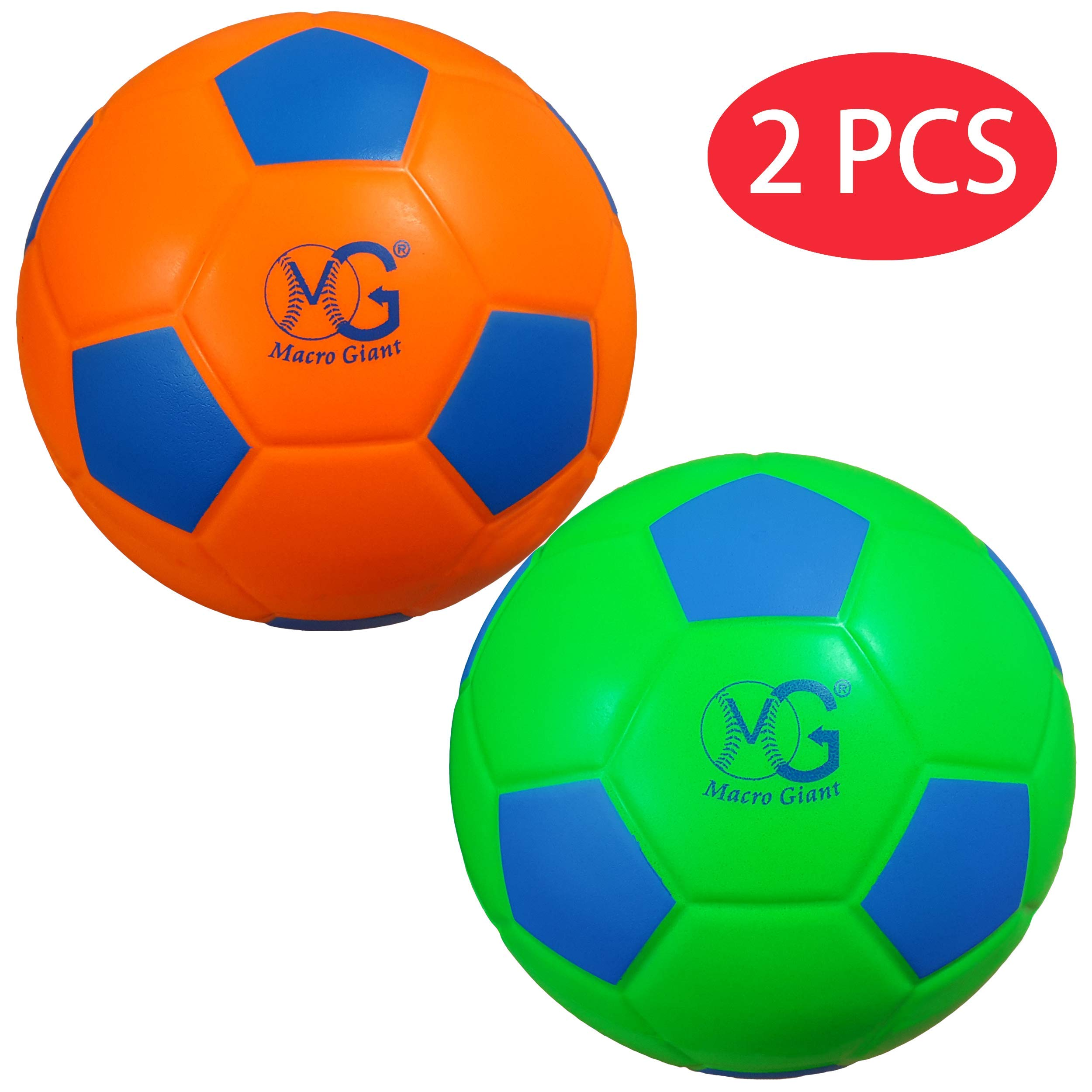 Macro Giant 7.5 Inch (Diameter) Soft Foam Training Practice Soccer Ball, Set of 2, Neon Green & Neon Orange, Kid Sports Toys,Kickball,Kid Toy Gift,Playground Ball,Physical Education Exercise