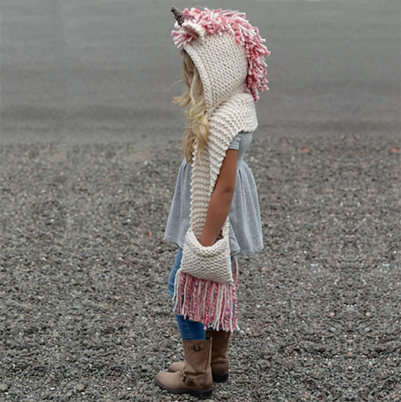 SENSERISE Winter Kids Warm Animal Hats Knitted Hood Scarf Beanies 1 Pink Unicorn(3-10years Old) by SENSERISE (Image #2)