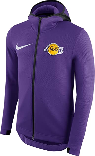 Amazon Com La Lakers 2018 19 Men S Authentic Nba Showtime Therma Flex Performance Full Zip Purple Hoodie Clothing