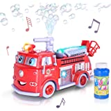 ArtCreativity Bubble Blowing Fire Engine Toy Truck for Kids - Awesome Light Up LED and Siren Effects - Bubble Solution and Funnel Included - Best Birthday for Boys and Girls 5+
