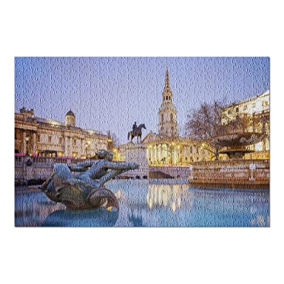 London, England - Trafalgar Square Illuminated at Night 9026323 (Premium 500 Piece Jigsaw Puzzle for Adults, 13x19, Made in USA!): Toys & Games
