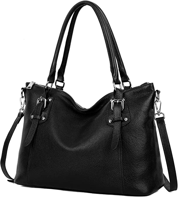 Save 30% on YALUXE Women's Vintage Style Soft Leather Tote Large Shoulder Bag Black