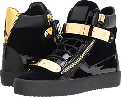 Giuseppe Zanotti Men s May London High Top Embroidered Sneaker Navy Shoe 7987b0cda9ef