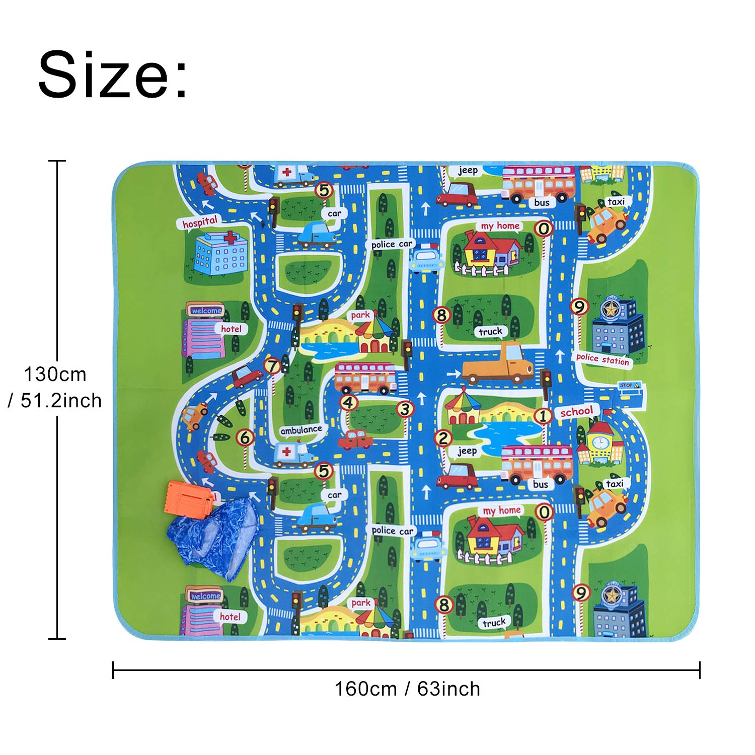 Amazon.com: Satkago Play Mat for Kids, Extra Large Foldble Waterproof Crawling Mat, City Life Great for Playing with Cars and Toys, Children Educational ...