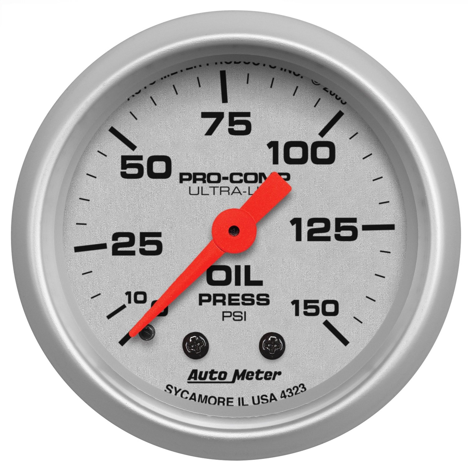 Auto Meter 4323 Ultra-Lite 2-1/16' 0-150 PSI Mechanical Oil Pressure Gauge