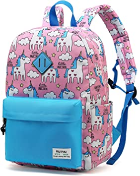 Unicorn Castle Blue Girls//Boys Preschool Toddler Backpack /& Lunch Box Set
