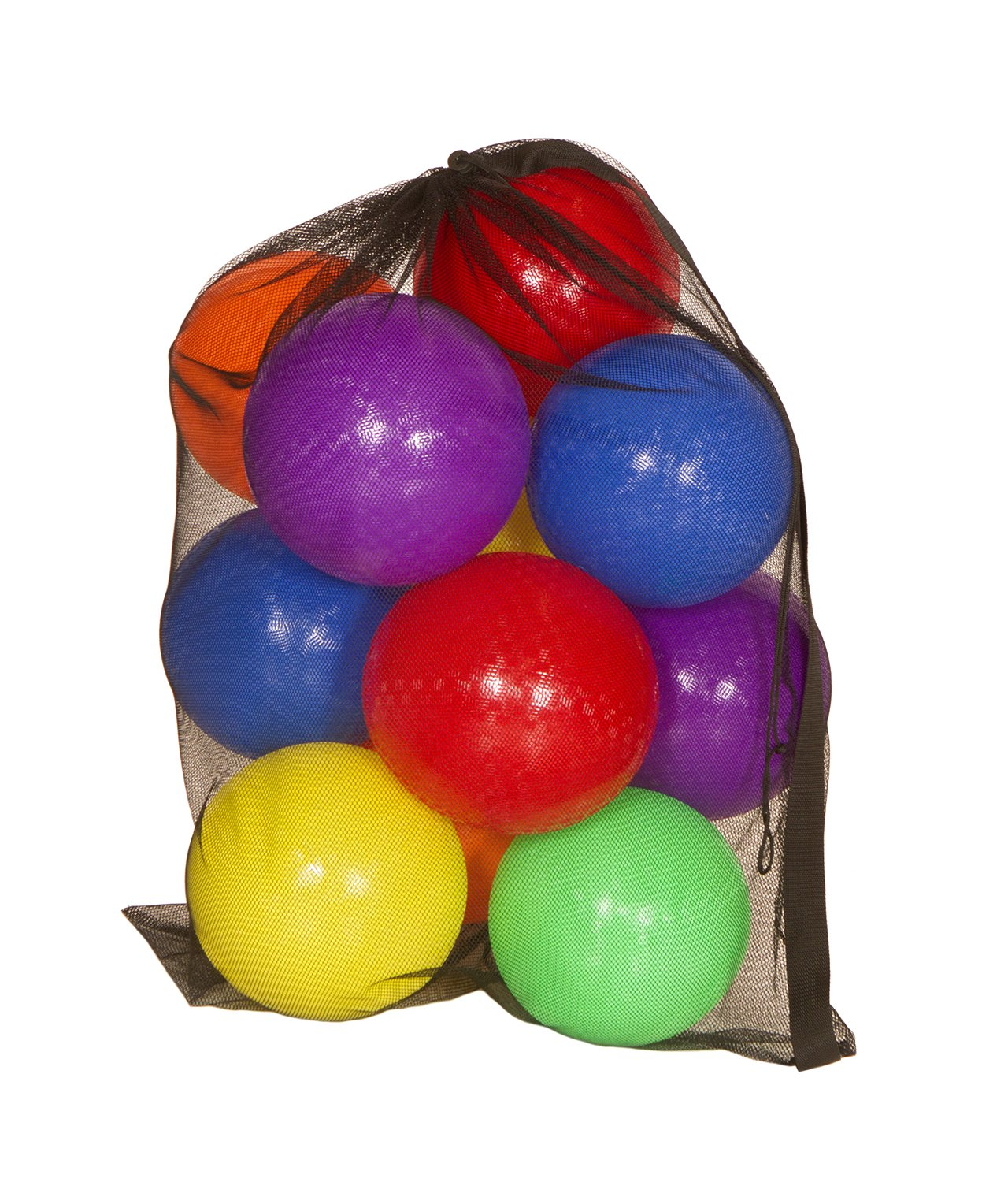 "Get Out! 8.5"" Inch Playground Balls 6-Pack PLUS Mesh Drawstring Carrying Bag & Inflator – Latex-Free Rubber Playground Ball Set by Get Out!"
