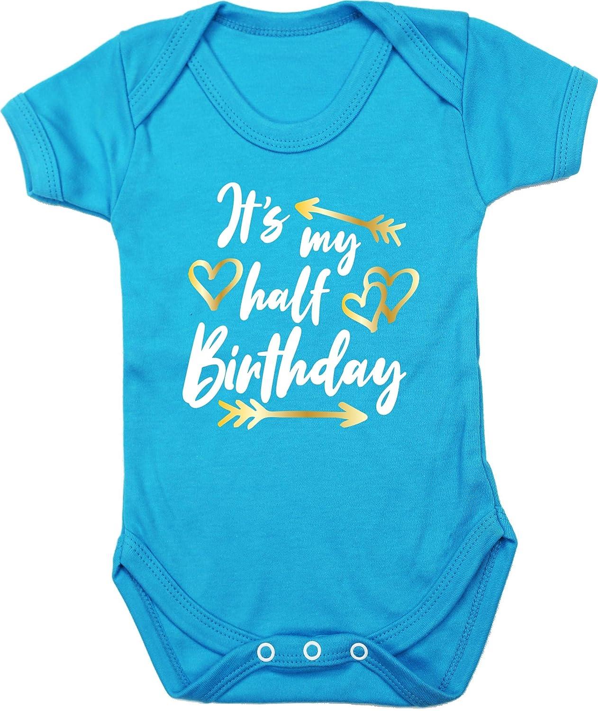 Boys Girls Short Sleeve Hippowarehouse Its My Half Birthday Baby Vest Bodysuit