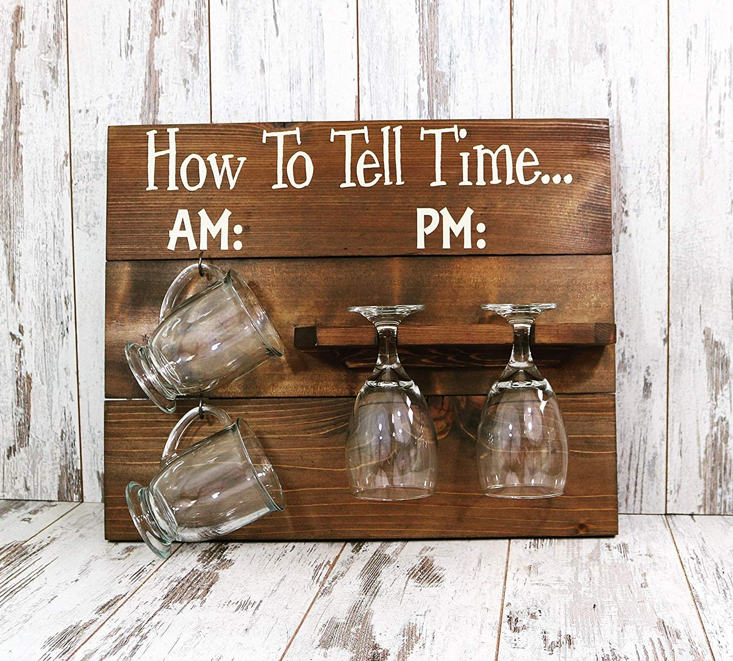 NOT BRANDED How to Tell Time Wooden Sign, Sign Decor, Rustic Decor, Farmhouse Home Decor, Wine Glass Sign, Coffee Mug Sign, Kitchen Sign, Coffee Bar 855905