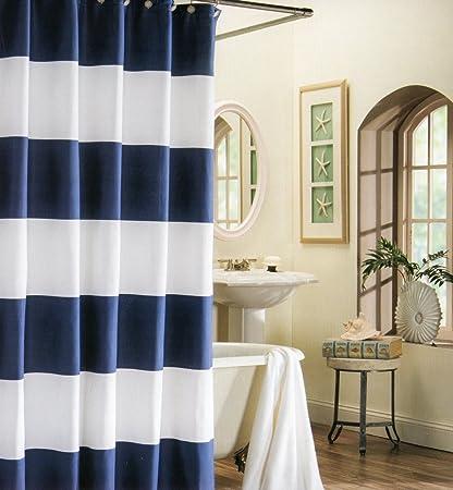 EZON CH Customize Waterproof Navy Blue White Nautical Stripe Print  Polyester Fabric Bathroom Shower Curtain