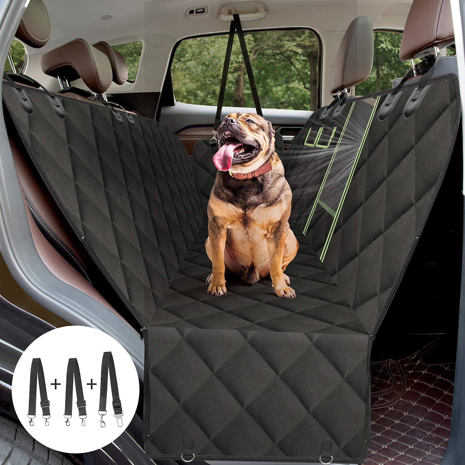 AURELIO TECH Dog Seat Covers for Back Seat Convertible Dog Hammock w/