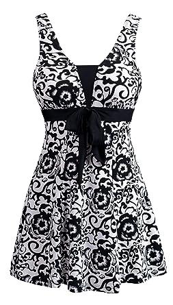 b9c43a7faae6 Wantdo Women's Plus Size One-Piece Push Up Swimsuit Swimwear Vintage Sailor  Dress Black Porcelain