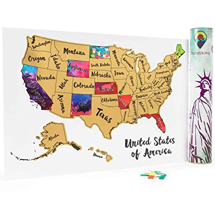 United States Of America World Map.Travelisimo Scratch Off Map Of The United States 12x17 Us Watercolor Poster For Road Trip Usa Travel Accessories With 10 Flags For Next Visited