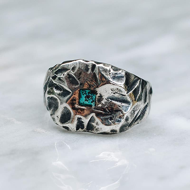 IHMSS sterling silver hammer texture ring with natural green Chinese turquoise size 7.5