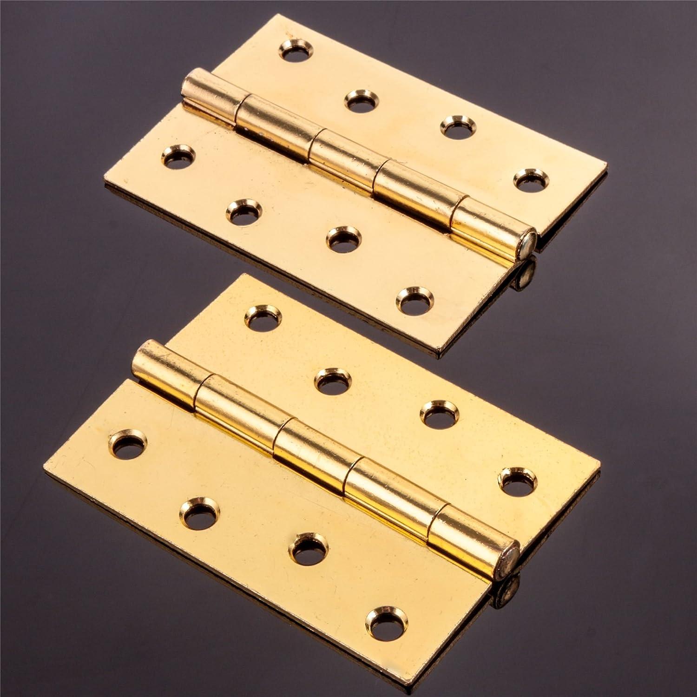 """2 x LARGE 100mm//4/"""" BRASS BUTT HINGE Heavy Duty Fixed Pin Internal External Doors"""