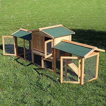 WilTec Conejera Corral Caseta Animales pequeños XXL Patio Exterior Zona Abierta Mascotas Conejo Chinchilla: Amazon.es: Productos para mascotas