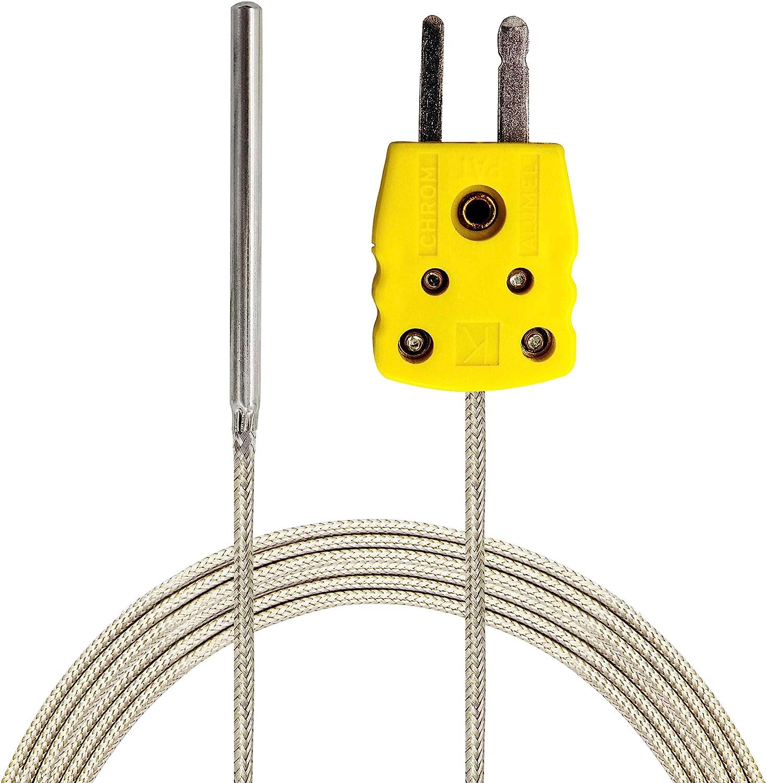 PerfectPrime TL1004 K-Type Sensor Probes Metal HeadProbe for K-Type Probe Thermocouple Sensor & Meter in Temperature Range from 0 to 500 °C