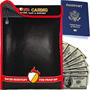 Fireproof Documents Bag 15x11 with Zipper. Used as Money Bag, Cash Box, File Organizer, Safe Envelopes, Waterproof Pouch, Fire Proof Case, Holder Safety Container to Travel, Security Storage. Black