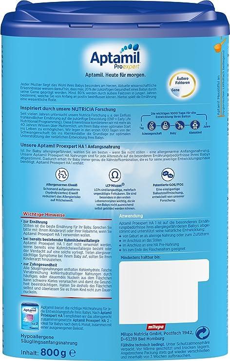 Aptamil HA 1 ProExpert, hipoalergénico Fórmula infantil, EazyPack, 4-pack (4 x 800g): Amazon.es: Alimentación y bebidas