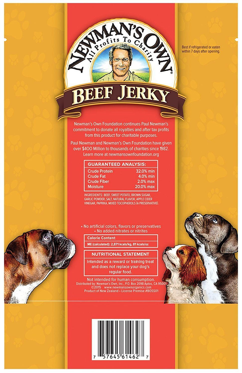 Newman's Own Grain Free Grass Fed Beef Jerky Dog Treats 2 Flavor Variety with Toy Bundle: (1) Original Recipe, and (1) Beef & Sweet Potato Recipe, 5 Oz. Ea. (2 Bags Total) by Newman's Own (Image #4)