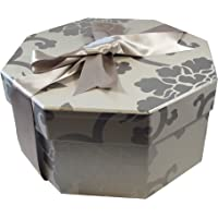 Foster Stephens Handmade   Colorful   Octagon   Hat Box   Endsleigh Silver   Medium: 15.75″ x 7.87