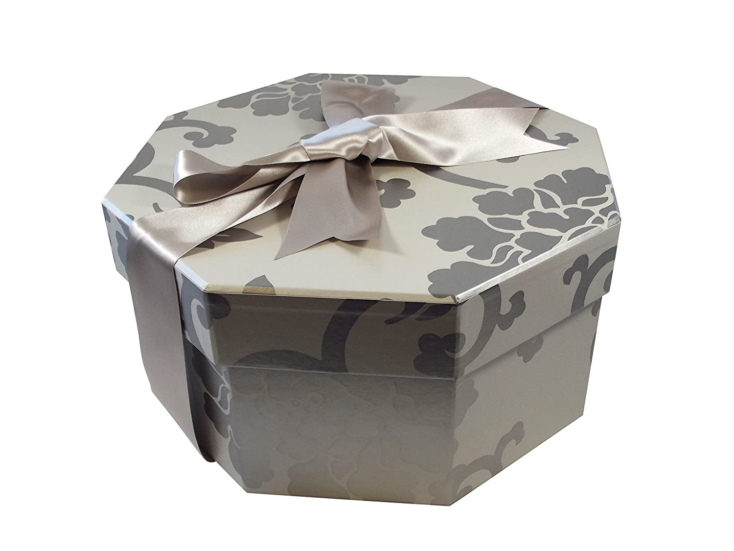 Colorful Hat Box -- Endsleigh Silver (Set of 3: Small, Medium, Large) The Empty Box Co HAT BOX OCTAGONAL ES 3
