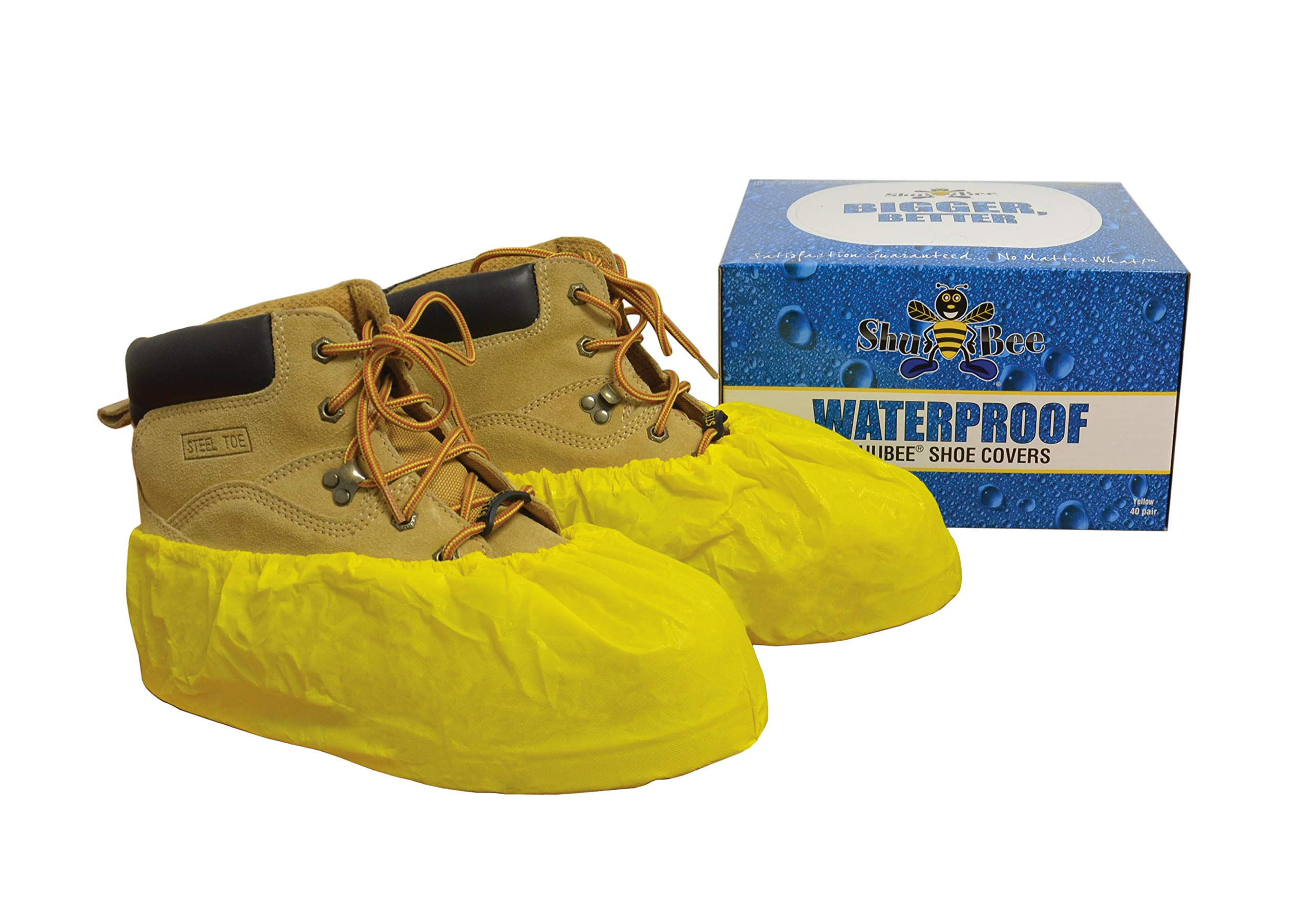 ShuBee Waterproof Shoe Covers, Yellow (40 Pair)
