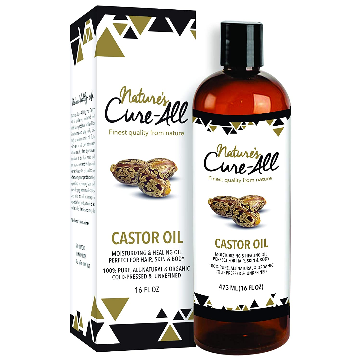 Nature's Cure-All Organic Castor Oil 16oz, Natural, Cold-Pressed and Unrefined Oil
