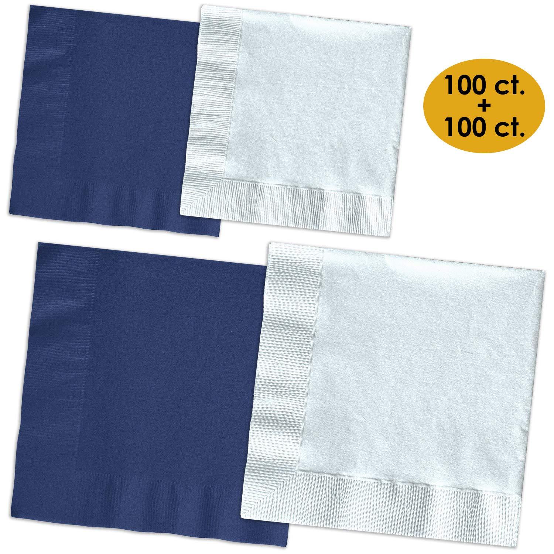 200 Napkins - Navy blue & Bright White - 100 Beverage Napkins + 100 Luncheon Napkins, 2-Ply, 50 Per Color Per Type