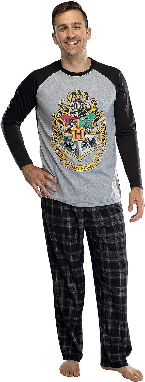 Harry Potter Adult Men's Raglan Shirt and Plaid Pants Pajama Set -Gryffindor, Ravenclaw, Slytherin, Hufflepuff