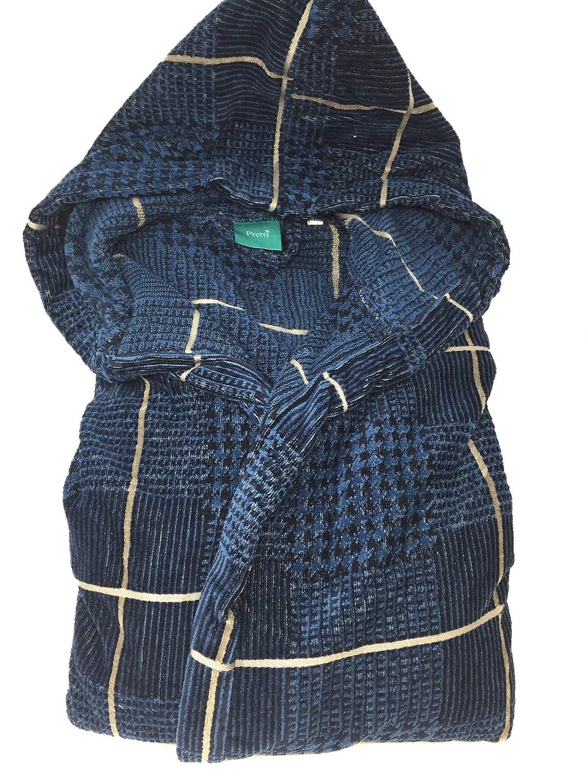 Pretti Accappatoio Uomo Galles col. Oceano Cappuccio Spugna Jacquard gr. 430 mq2. (M) Gabel Industria tessile S.p.A