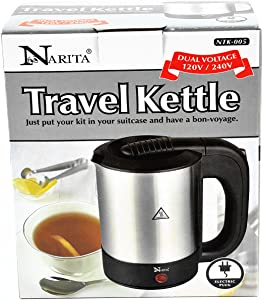 Narita International Electric Hot Pot Water Kettle 1000W Dual Voltage 120V/240V 0.5L (NTK-005) Home Supply Maintenance Store