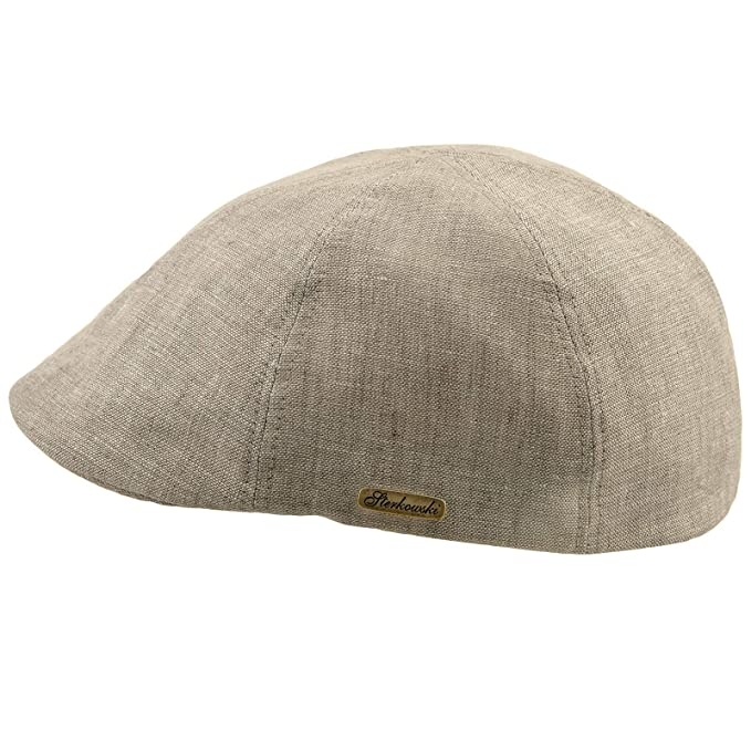 62fa49a834e62 Sterkowski Light Breathable Linen Summer 6 Panel Duckbill Flat Cap   Amazon.co.uk  Clothing