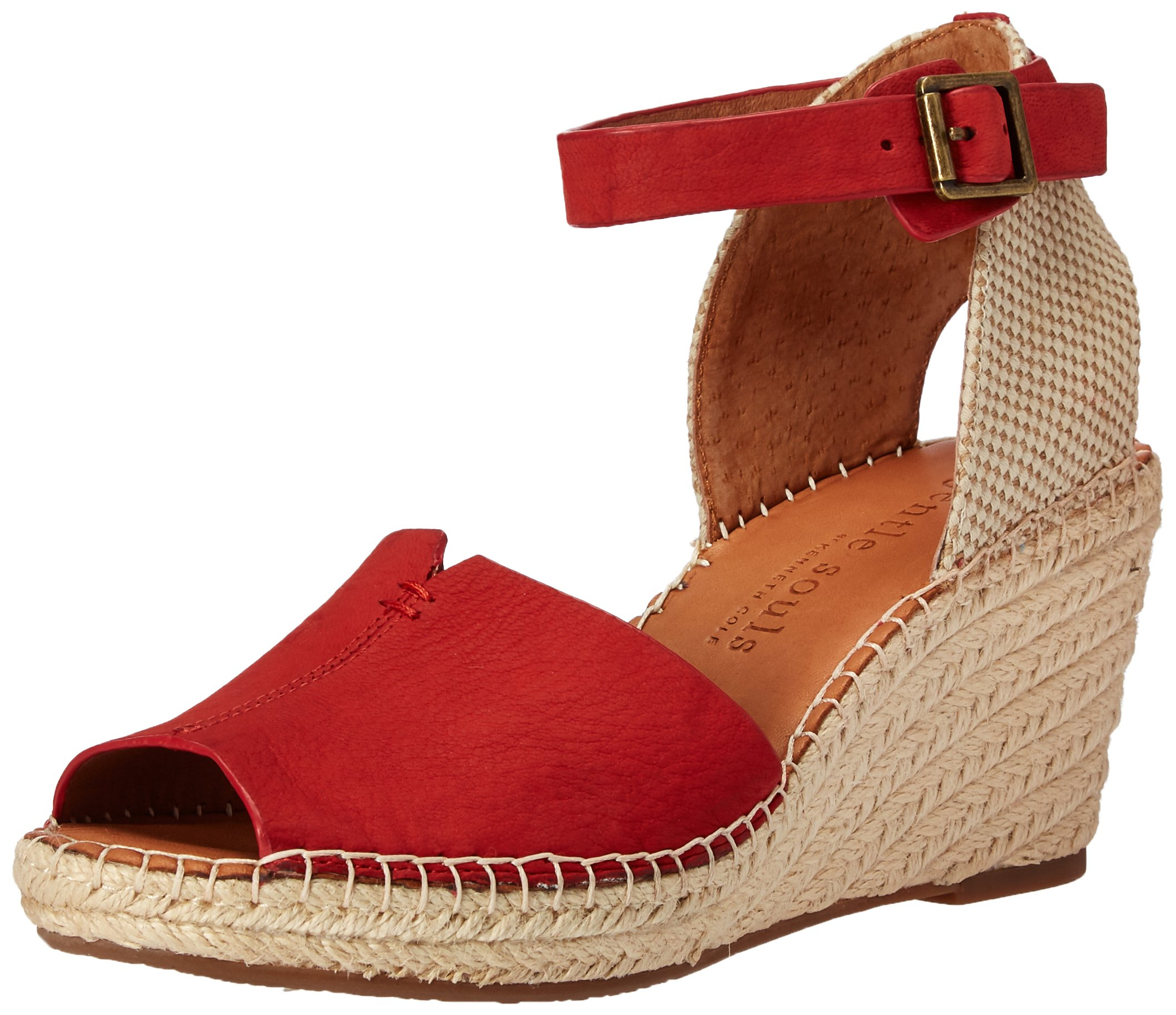 Gentle Souls Women's Charli Espadrille Wedge Sandal, Red, 10 M US